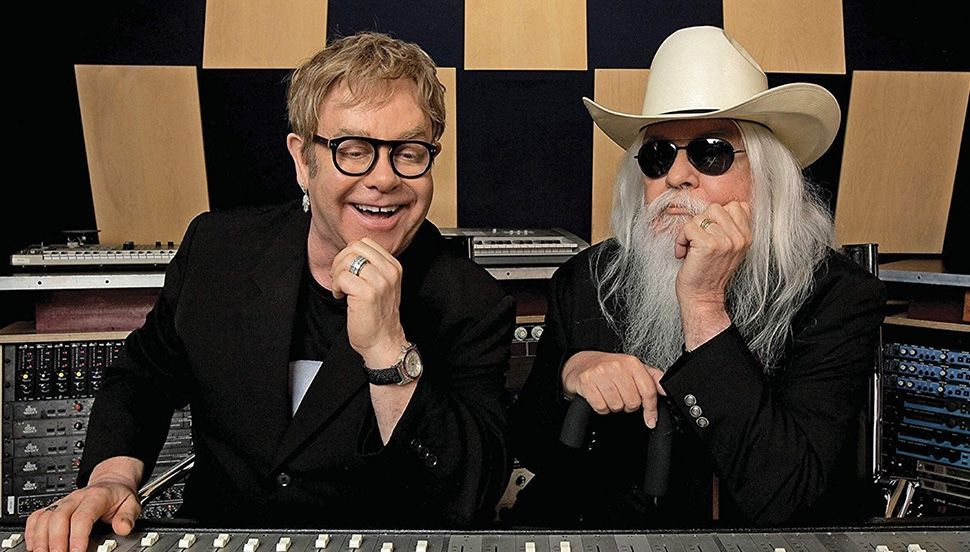 Elton and Leon Russell in the studio.