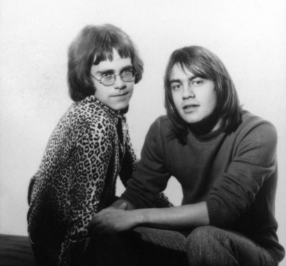 Elton and Bernie during a 1968 photo shoot for Dick James Music.