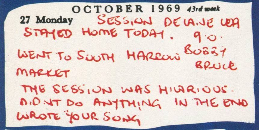 Elton's journal entry from October 1969.