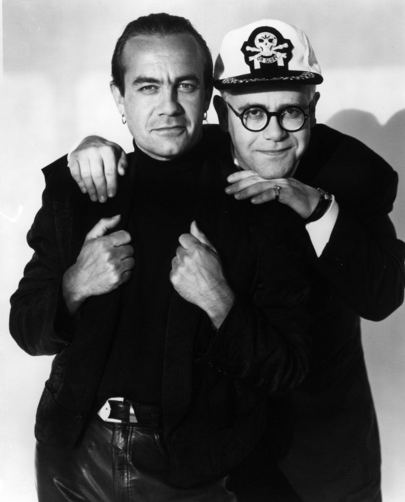 1989 - Elton John and Bernie Taupin during a photoshoot for Sleeping With The Past. (Photo: Herb Ritts)