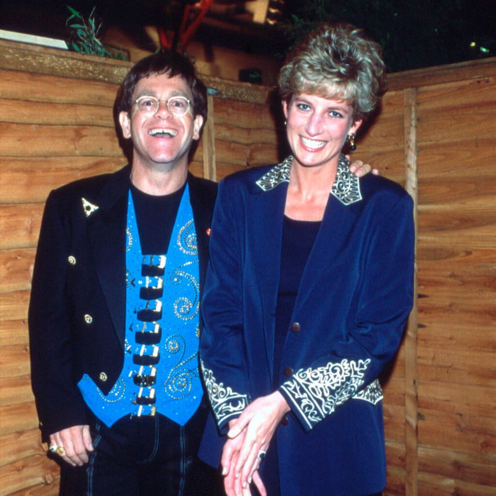 Elton with good friend Princess Diana backstage at Earls Court in 1993.
