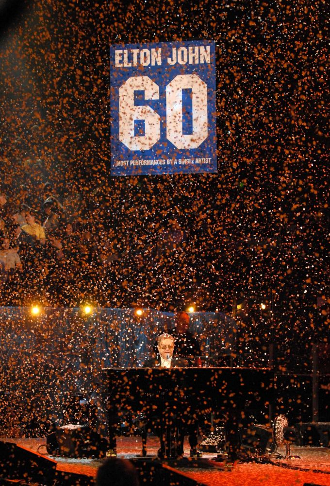 Elton amongst the glitter at Madison Square Garden in 2007. (Photo by Kevin Mazur)