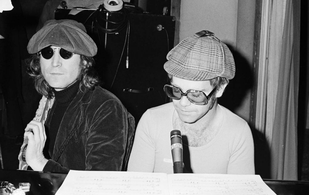 Elton and John Lennon at The Record Plant, NYC ahead of the Madison Square Garden show on November 28, 1974. (Photo: Sam Emerson)