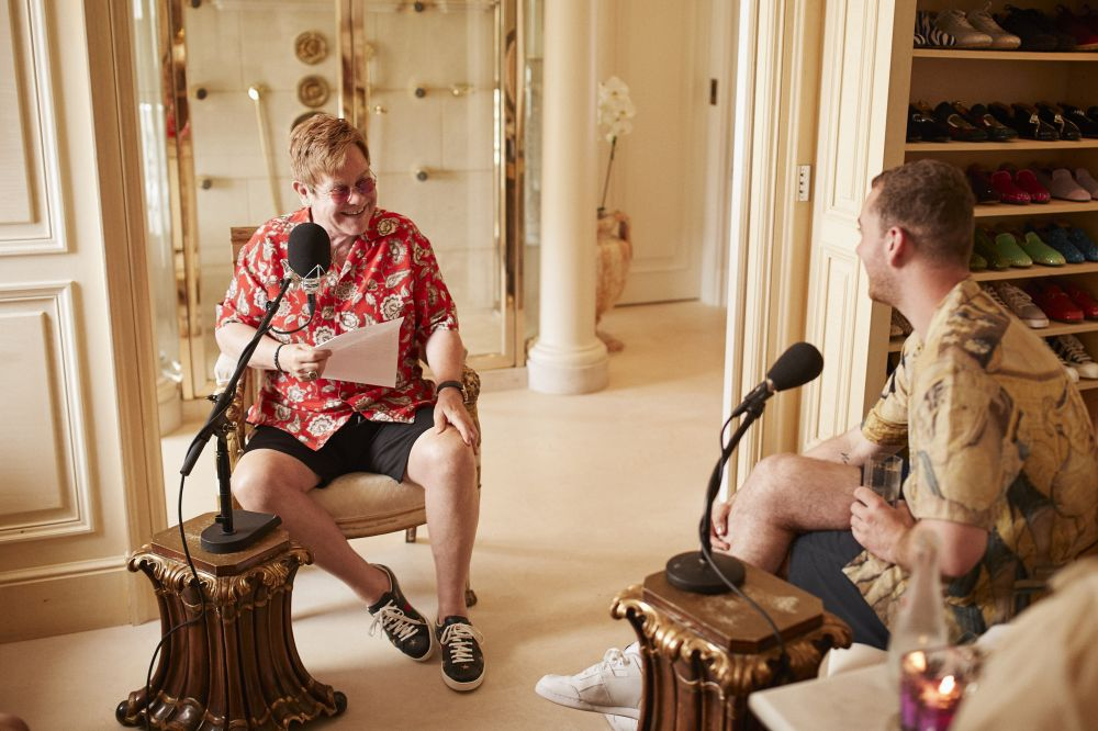 Elton recording Rocket Hour with Sam Smith