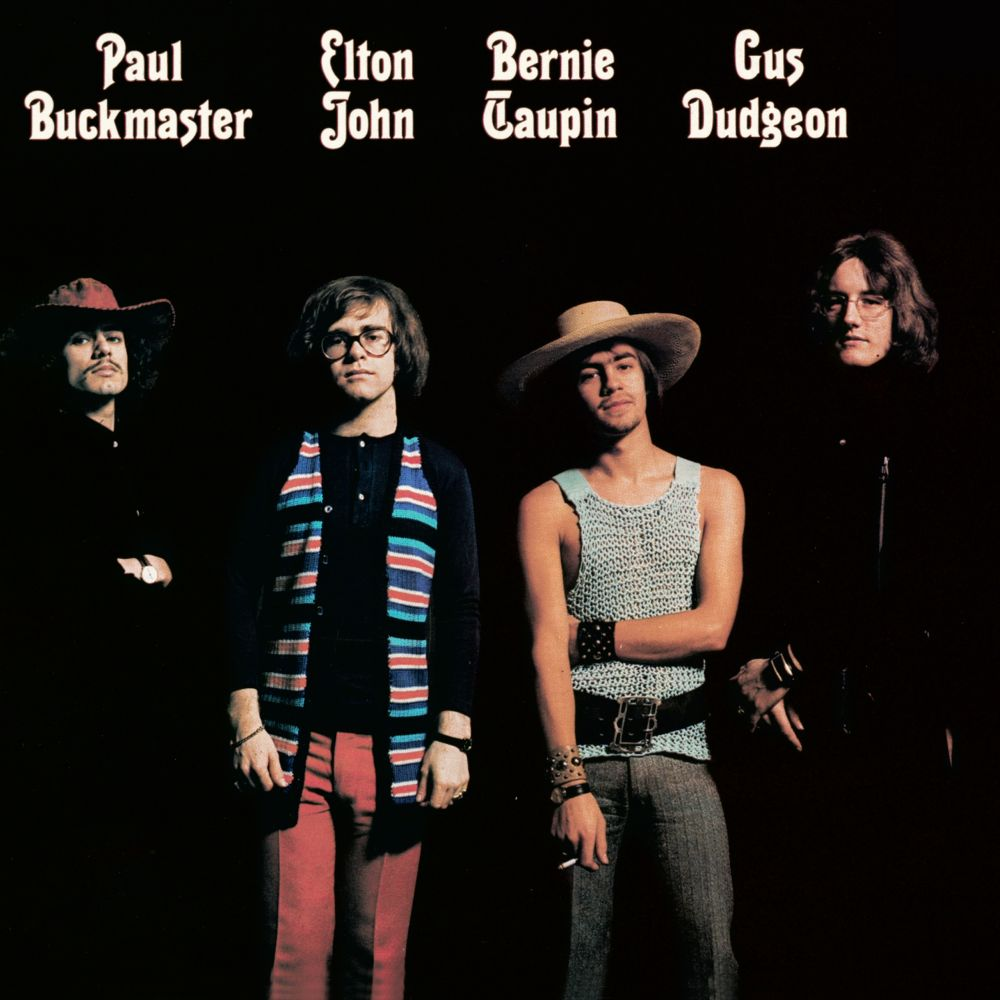 Rear cover of the 'Elton John' album (1970) showing Elton and Bernie with the late Paul Buckmaster and Gus Dudgeon.