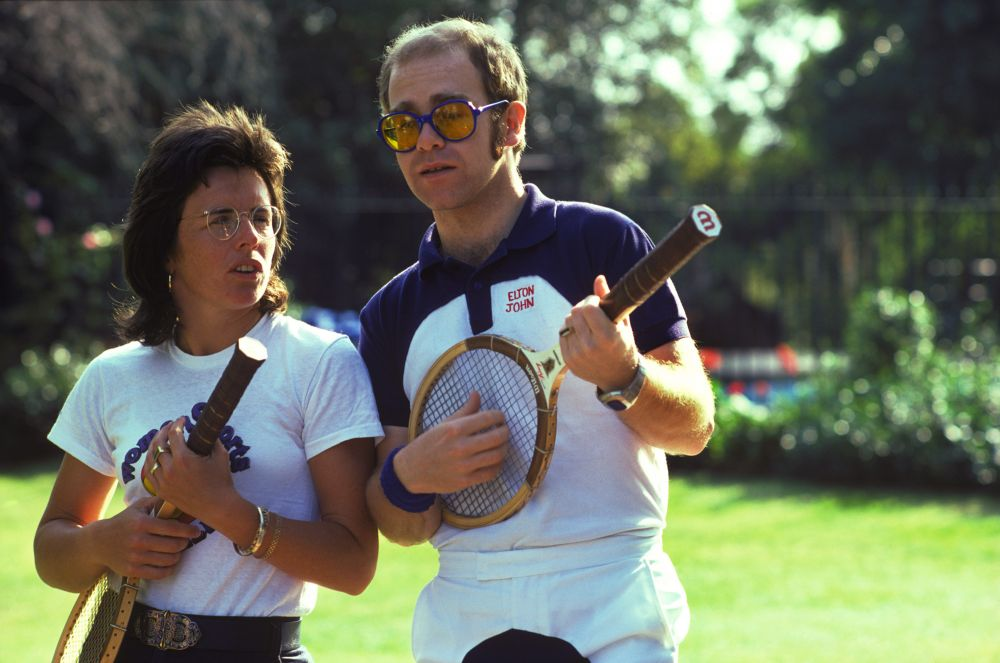 Elton with Billie Jean King in 1974. (Photo: Sam Emerson)