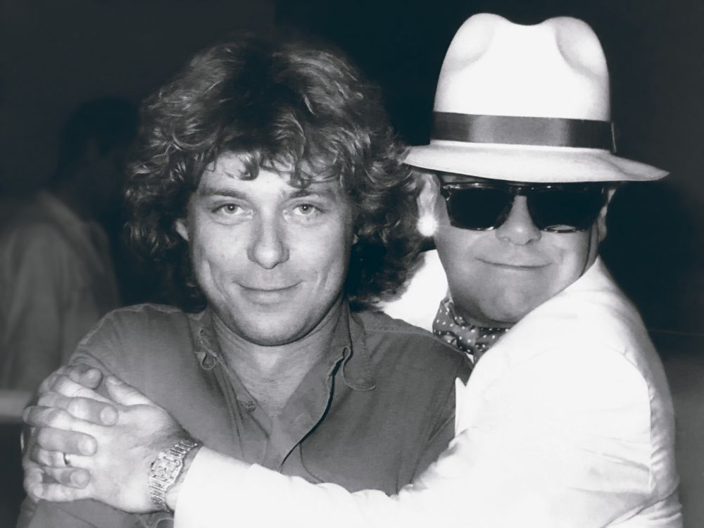 Russell and Elton in the 1980s. (Photo courtesy of Russell Mulcahy)