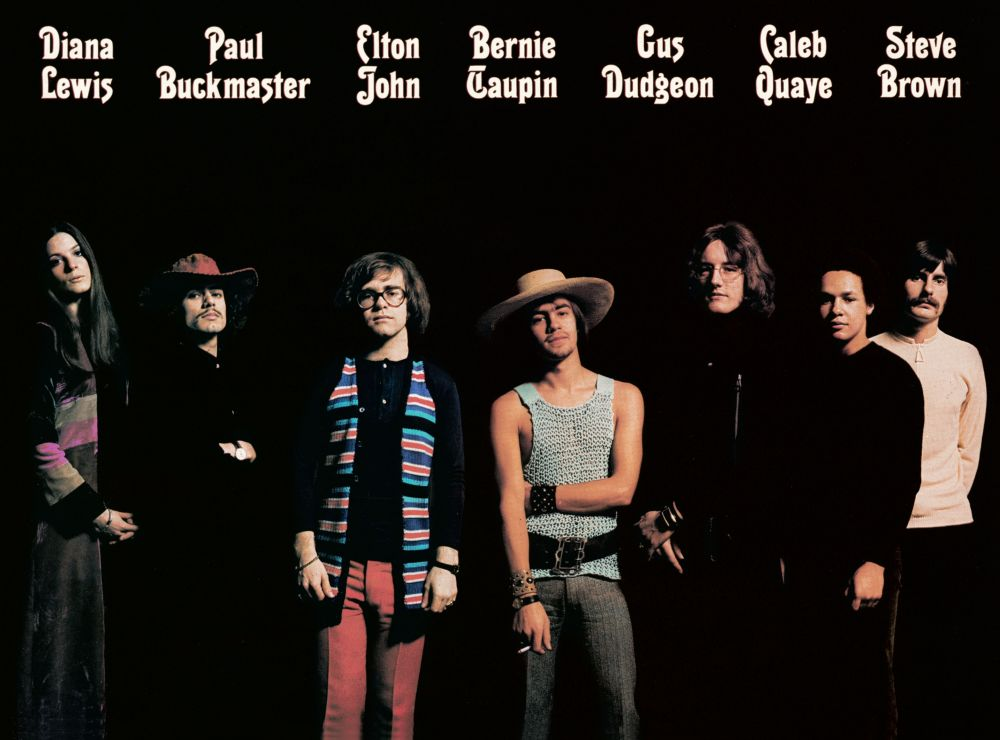 The back cover of 'Elton John', featuring those who created it.