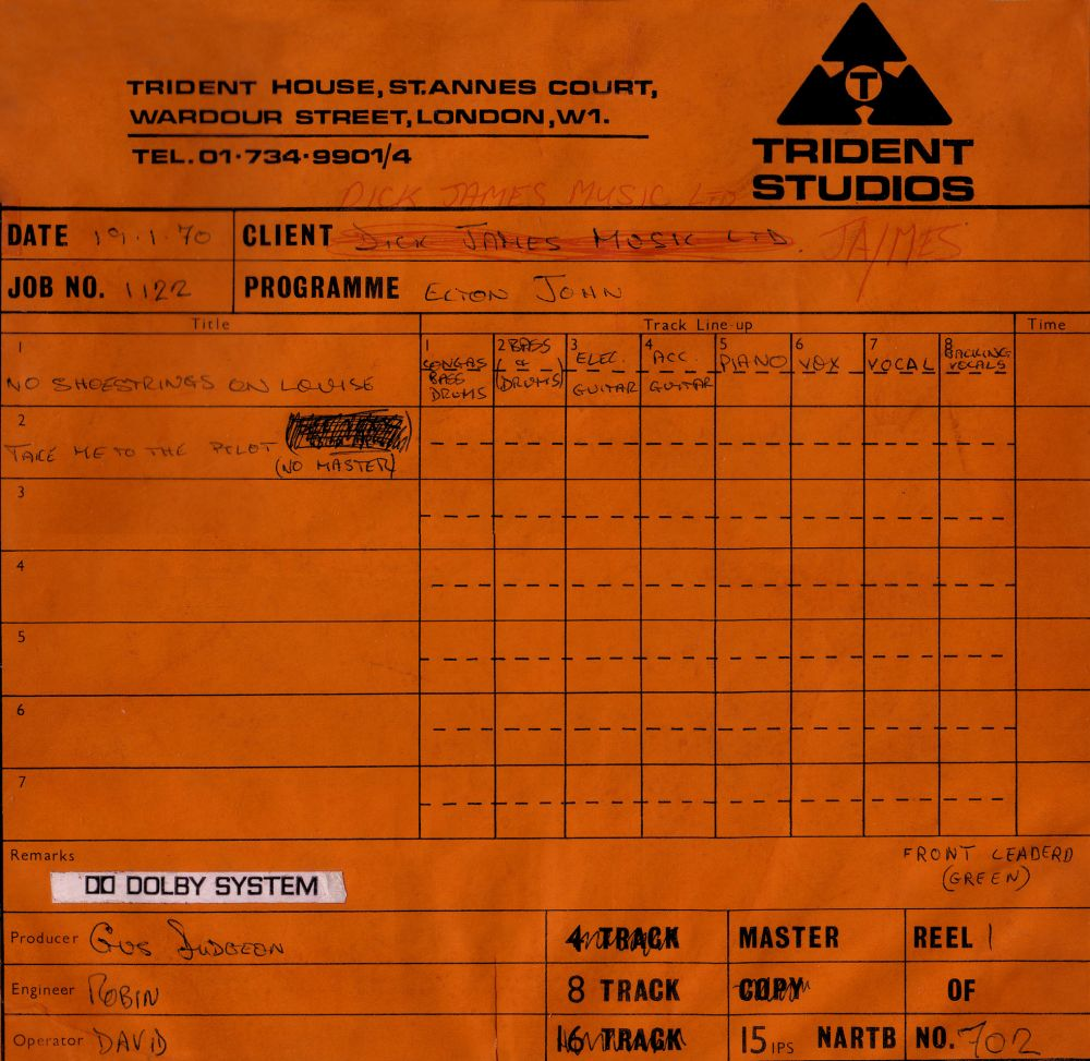 Scan of master tape box from first day of recording the 'Elton John' album.