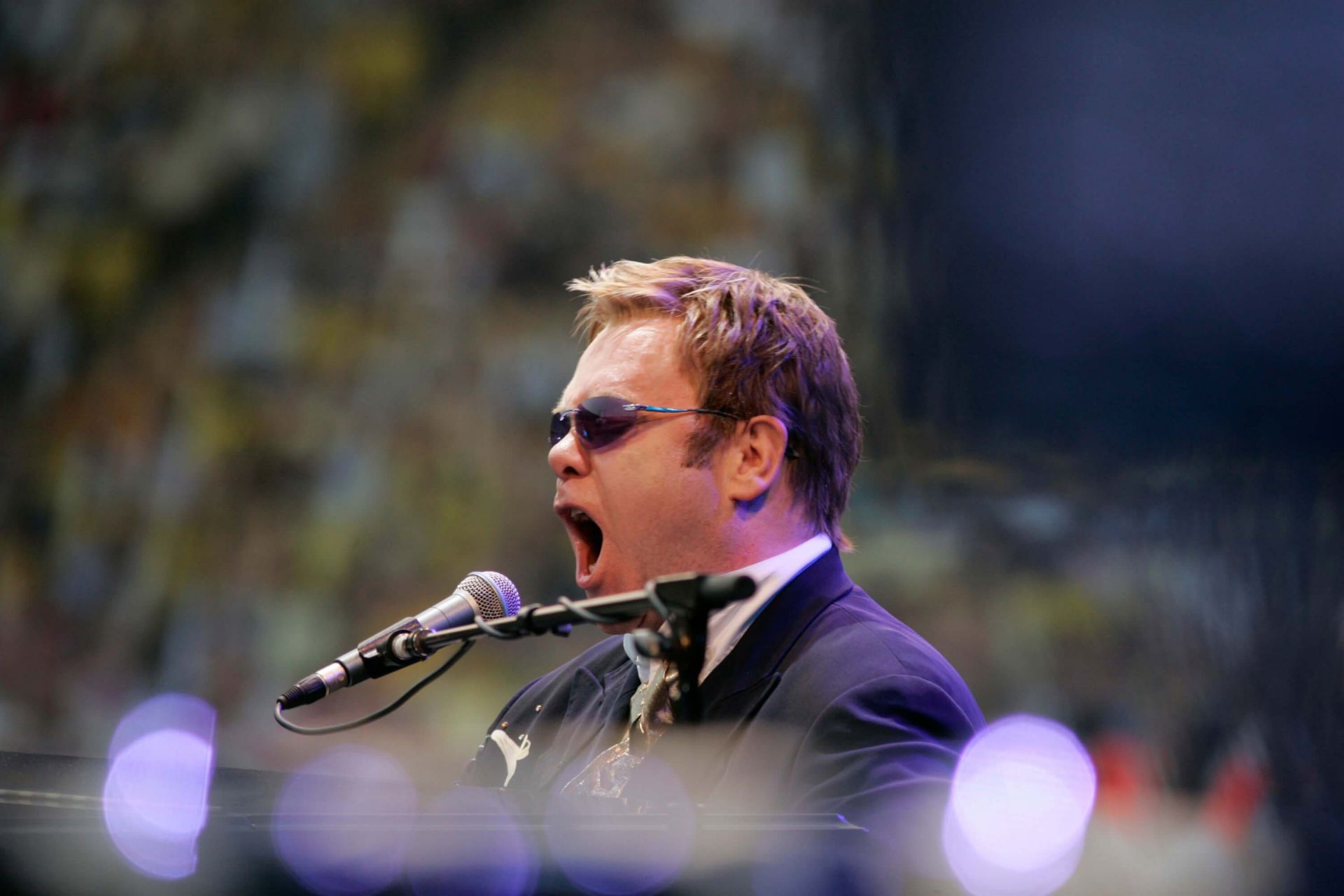 June 18th 2005 - Elton on stage at Watford Football Club.