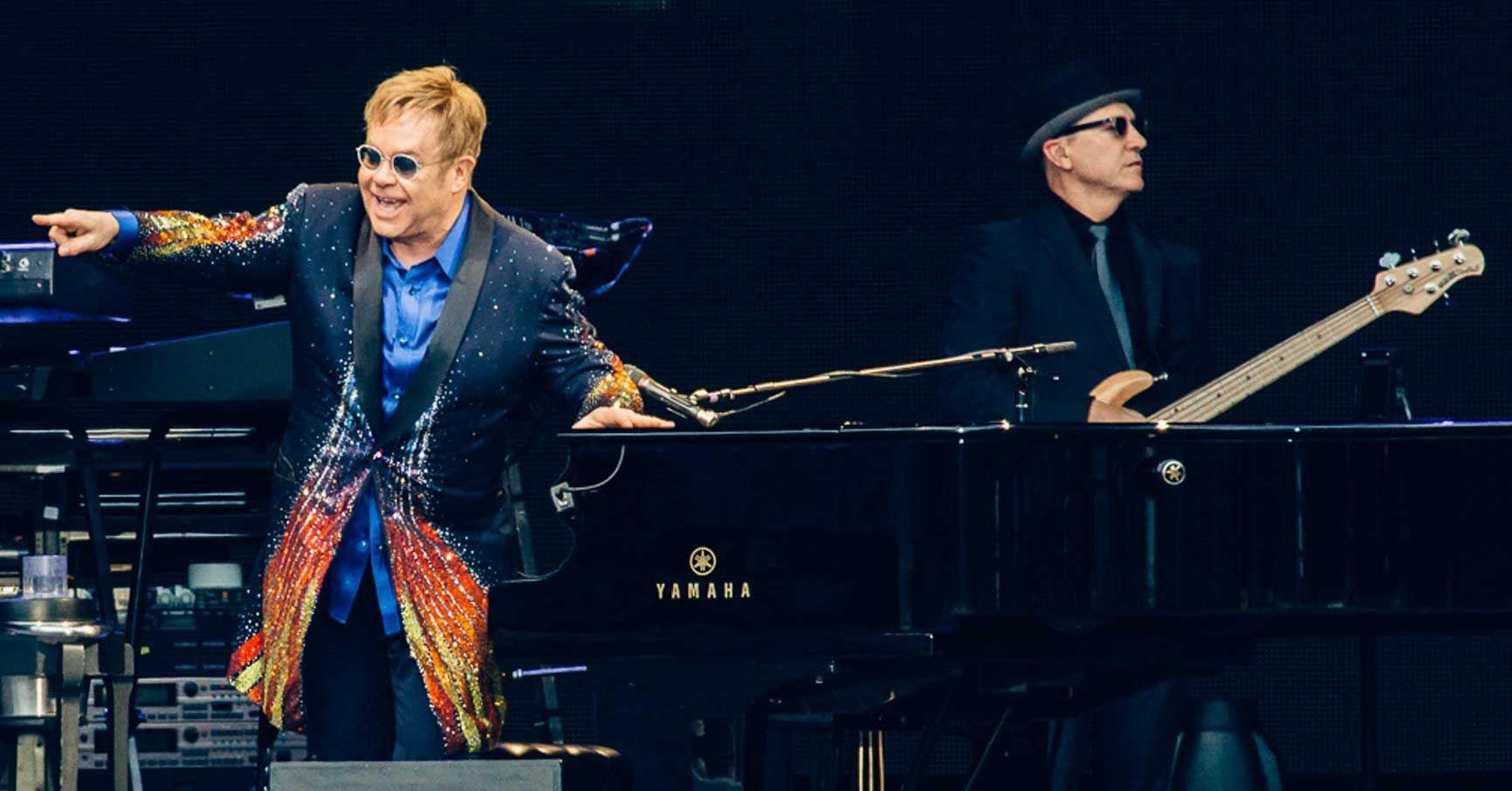 Elton on stage with Matt Bissonette at Color Line Stadium in Ålesund, Norway - June 30, 2016. (Photo: Johannes Lovund)