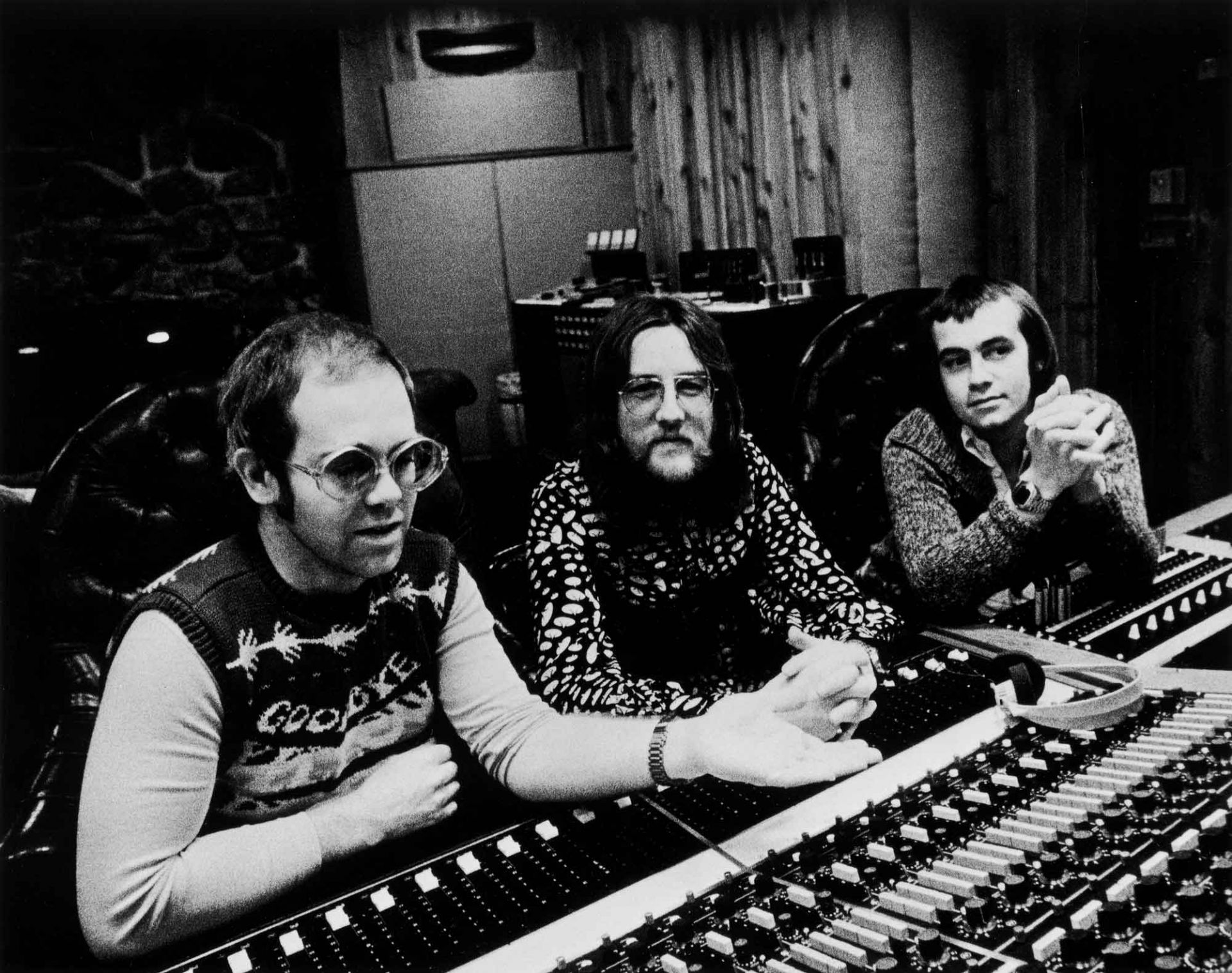 Elton, producer Gus Dudgeon, and Bernie Taupin during the Caribou sessions.