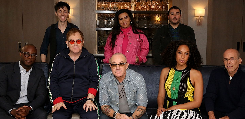 L-R: Barry Jenkins, Kurt Schneider, Elton John, Bernie Taupin, Parris Goebel, PES, Melina Matsoukas and Jeffrey Katzenberg.
