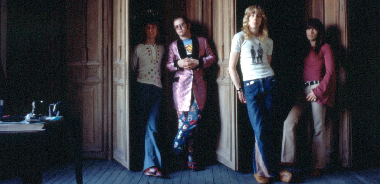 Elton with Davey (2nd from right) and the band at the Château d'Hérouville. (Photo: Bryan Forbes)