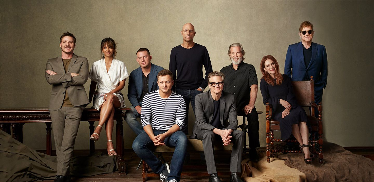 Elton with his castmates from 'Kingsman: The Golden Circle'.