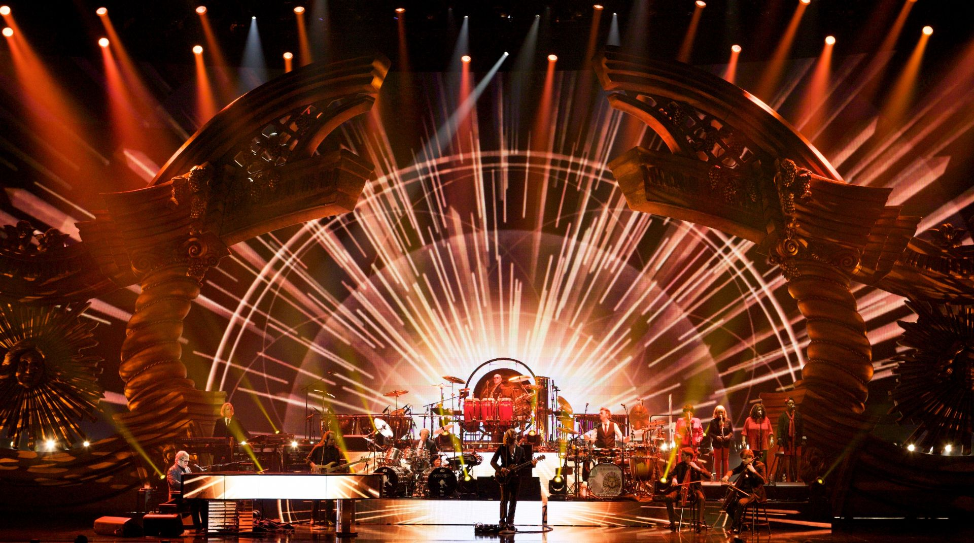 Elton and the band performing 'Don't Let The Sun Go Down On Me' during the Million Dollar Piano at Caesars Palace, Las Vegas in May 2012. (Photo: Joseph Guay)