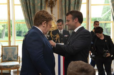 Elton John meets with President Macron to discuss the fight against AIDS and replenishment of The Global Fund