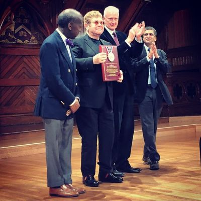 At a presentation in Harvard University's Sanders Theatre on Monday, November 6, Elton was named 2017 Harvard Humanitarian of the Year, recognising his work as founder of the Elton John AIDS Foundation.
